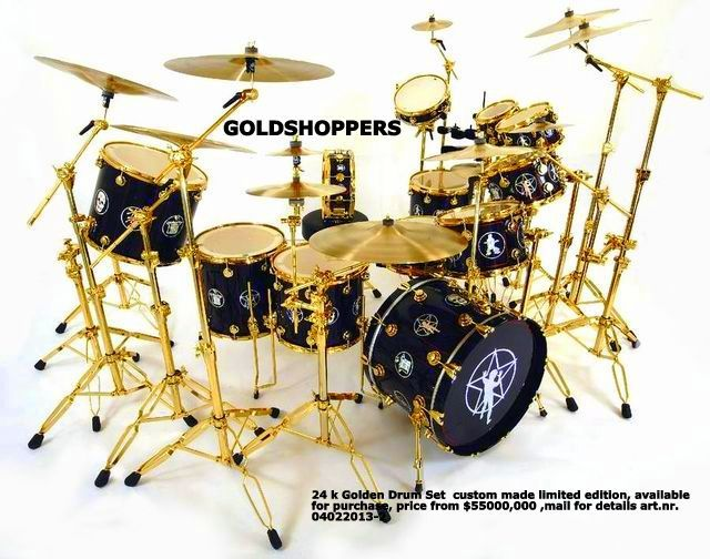24 k Golden Drum Set custom made limited edition, available for purchase, price from $55000,000 ,mail for details art.nr. 04022013-2