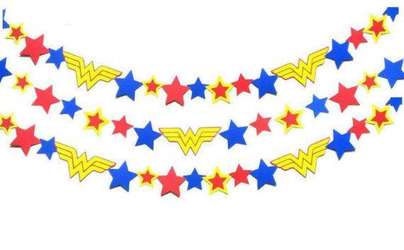 Wonder Woman Garland, Superhero Party, Comic Book Character, Wonder Woman Birthday