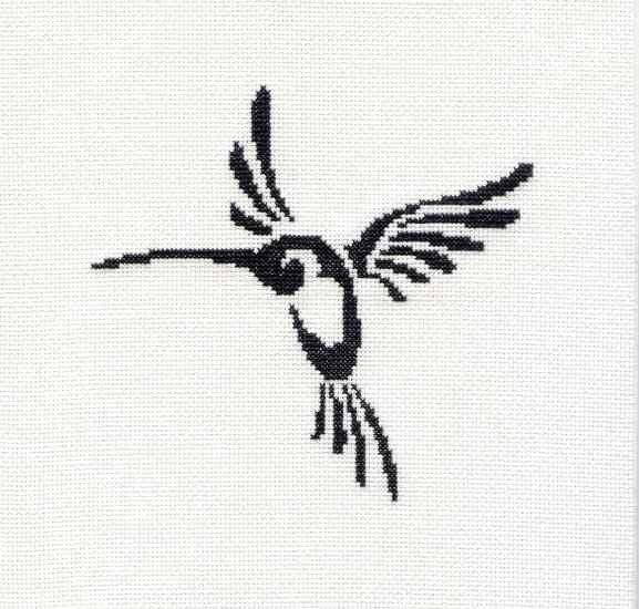 Tribal Tattoo Unframed Hummingbird Cross Stitch