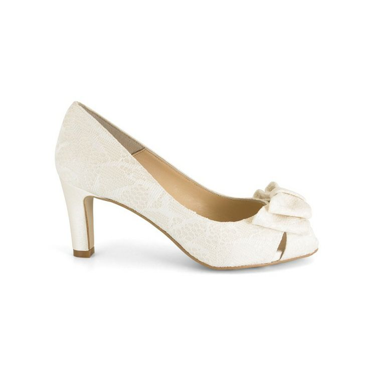14539-554L Zapato de novia bajitos encaje hueso - Ángel Alarcón
