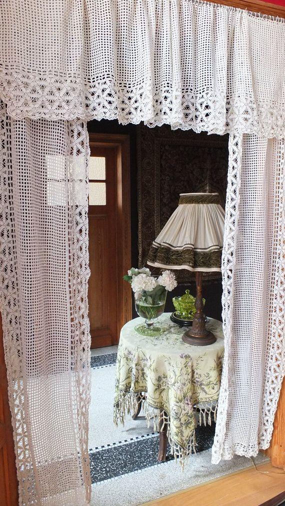 Antique French handmade curtain set portière Chateau boudoir window Provence crochetted lace art deco pattern shabby chic vintage linen