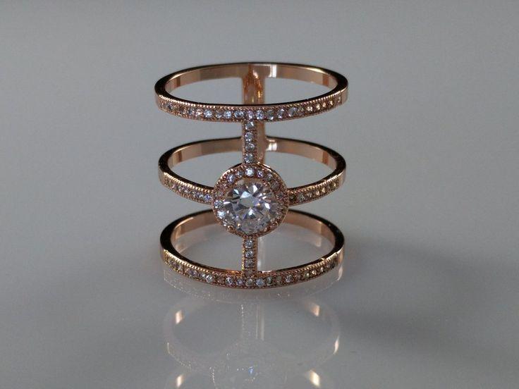 CZ Three Band Ring