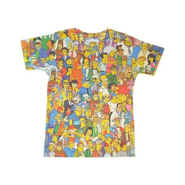 The Simpsons Springfield Crowd Photosheer Beige Adult T-Shirt (7.050 HUF) via Polyvore featuring tops, t-shirts, beige top and beige t shirt