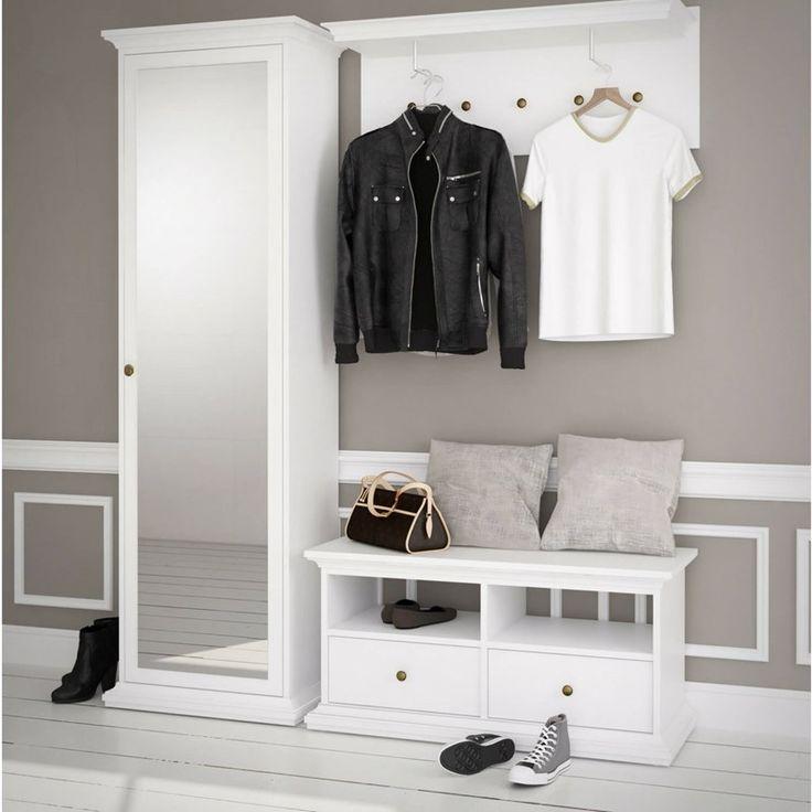 Hvidt Paris entré sæt (bænk og hylde) i romantisk design