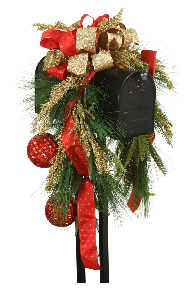 Mailbox Saddle Pine and Fir Boughs Seed Berries Ornaments and Ribbon
