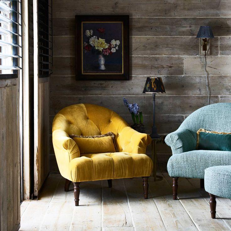 Brassica Velvet Chair, Plush Tumeric | Chairs | Living Room