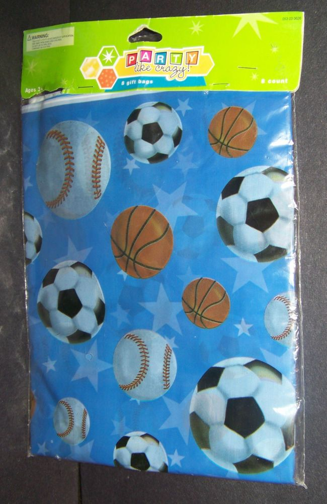 Sports Party Goody Bags Loot Treat Favor Baseball Soccer Basketball 8 Count #PartyLikeCrazy