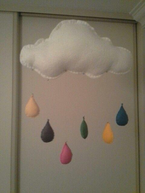 Felt cloud mobile with raindrops.