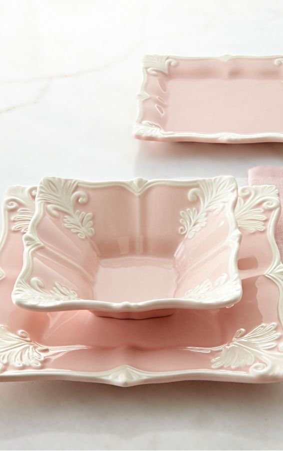 Pink and white square plates.