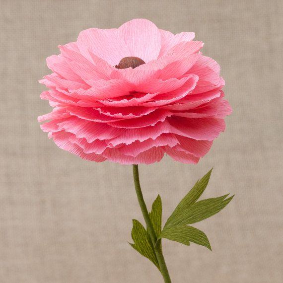 The 1000 best flower making images on pinterest diy flowers pink single stem paper open ranunculus paper flowers by myfloret mightylinksfo
