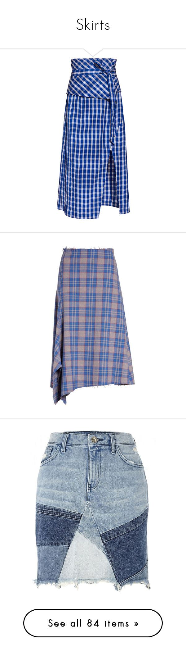 """Skirts"" by explorer-14639182668 ❤ liked on Polyvore featuring skirts, blue skirts, wrap midi skirt, pencil skirts, gingham midi skirt, blue pencil skirt, mid-calf skirt, tartan skirt, blue tartan skirt and asymmetrical skirt"