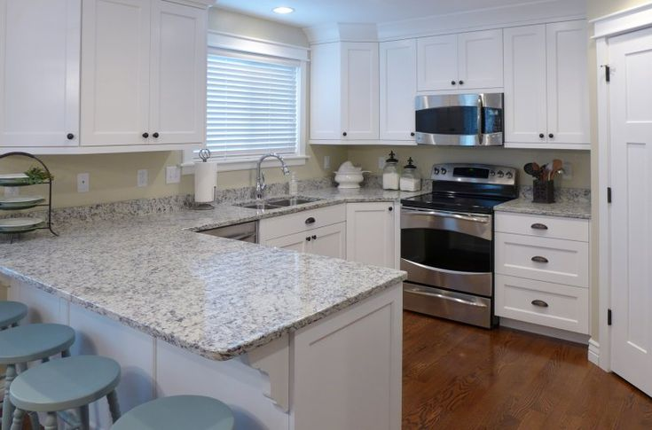 Kitchen remodel ashen white granite countertop and white cabinets accent surfaces salt - White kitchen ideas that work ...