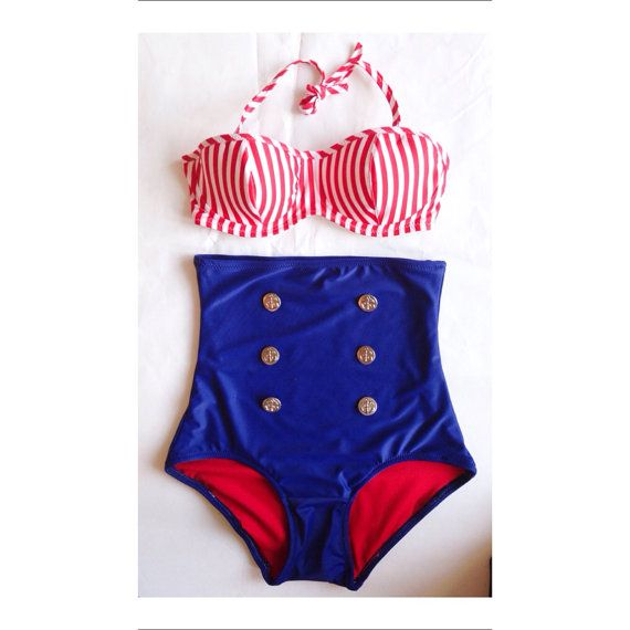 Nautical High Waist Pin Up Bikini Two Piece Swimsuit XS-XXL Underwire Bikini Retro Bikini Plus Size Swimsuit