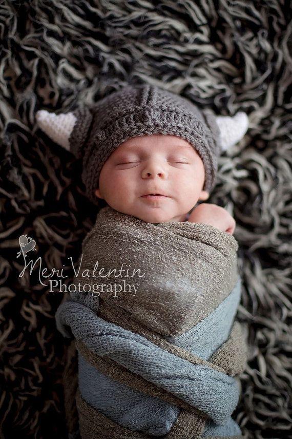 Crochet Viking Helmet beanie hat  Newborn  by FreshOffTheeHook