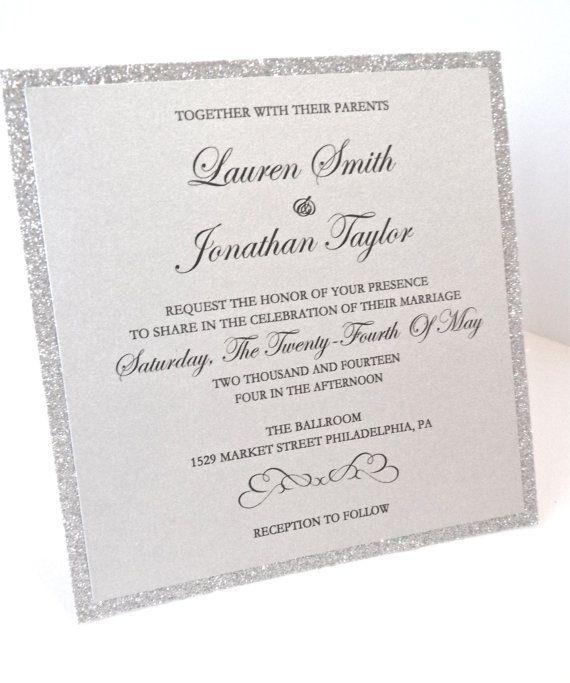 Silver Glitter Wedding Invitation Silver Glitter By Lovelytations