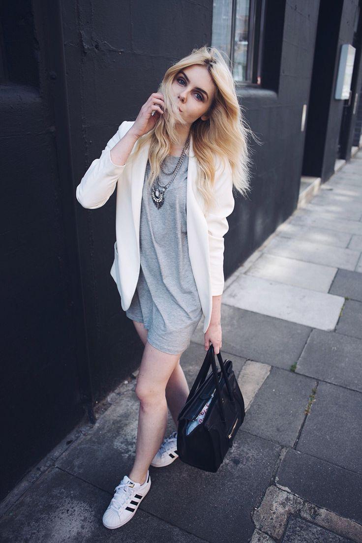 Adidas Superstar outfit / http://club-avenue.blogspot.com � Grey Dress  OutfitsBlack White ...