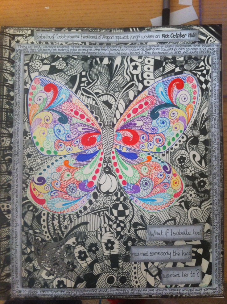 #Papercraft #ArtJournal #Zentangle  The Butterfly Effect