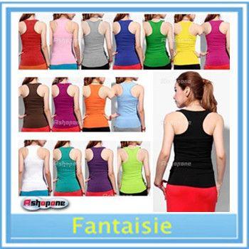 10pcs/lot+ Fashion Womens Ladies Racerback Tank Tops Cami Mini Sleeveless Vest Waistcoat T-Shirt (AX2) Free Shipping