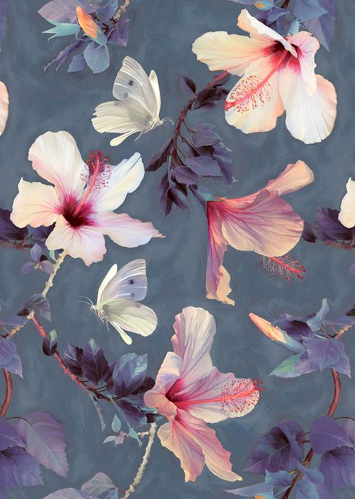Butterflies and Hibiscus Flowers - a painted pattern Art Print by Micklyn