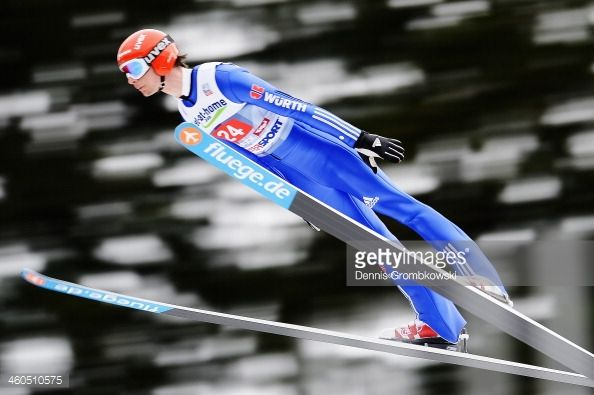 Andreas Wank of Germany soars through the air during his trial jump on day 2 of the Four Hills Tournament event at Bergisel on January 4 2014 in...