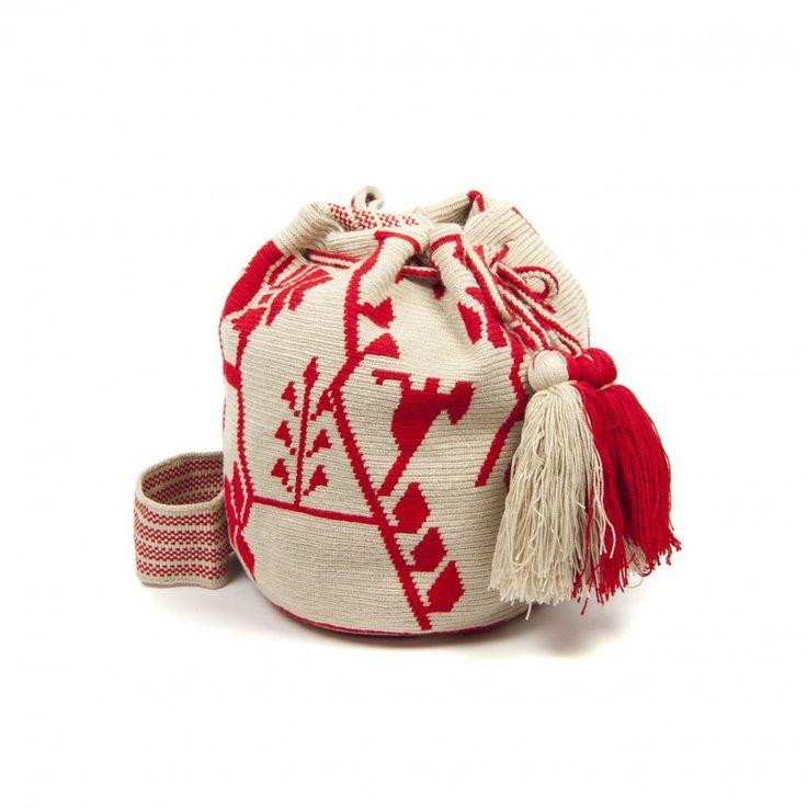 Bolso Wayuu Rojo y Beige