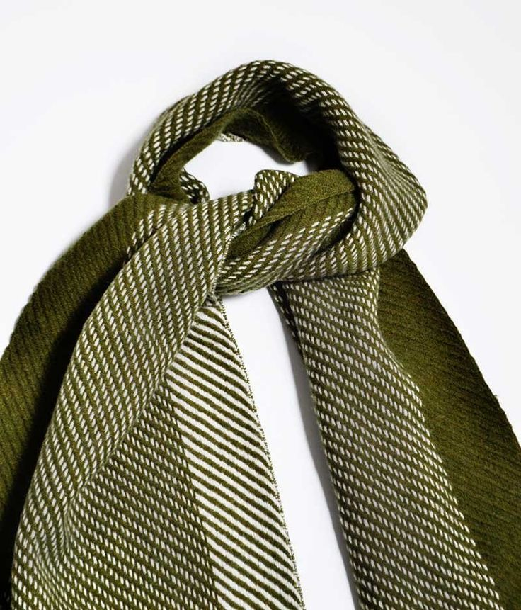 Cashmere Scarf | 19 andrea's 47 | Herringbone Military   White
