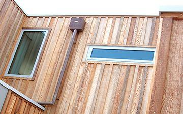 cedar board&baton for front-Benjamin moore oxford brown stain semi transparent