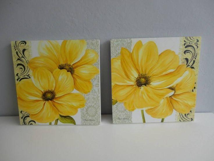 cuadros con flores 20 x 20 cm, sobre mdf de 15 mm espesor.
