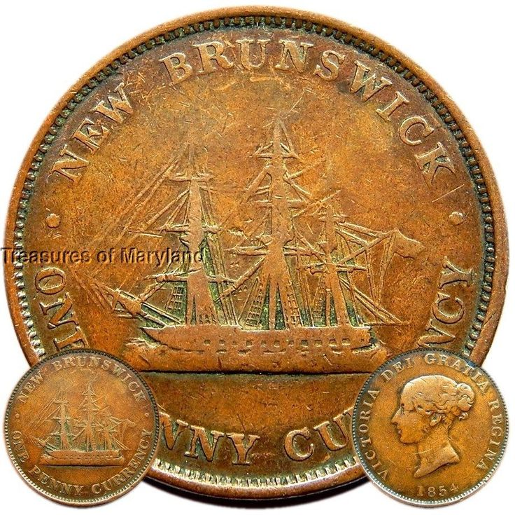 """NEW BRUNSWICK   1854 one penny token . Victoria """"Sailing Ship"""" one penny token"""