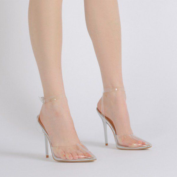 6d942466733 Clear Heels Ankle Strap PVC Closed Toe Sandals for Women in 2019 ...