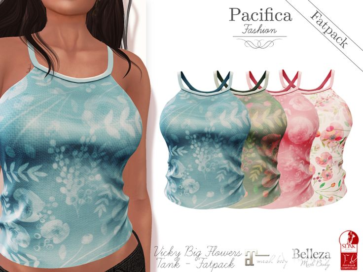 New: Vicky Big Flowers Tank in Second Life and Kitely