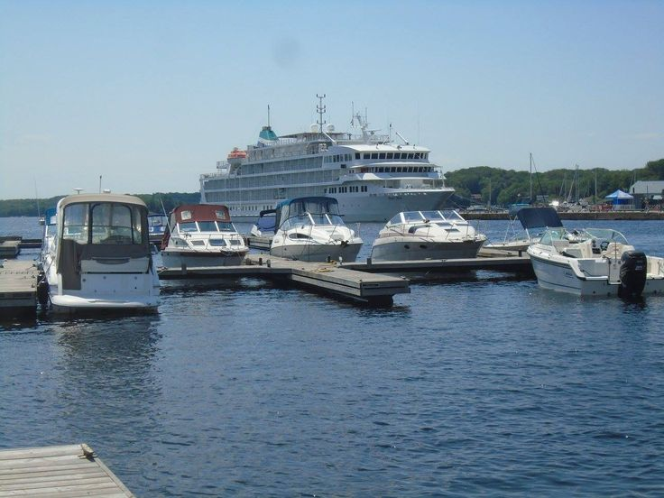 The pearl Mist docked in Parry Sound August 6, 2017 as seen from the southside of the excellent Harbour Facilities