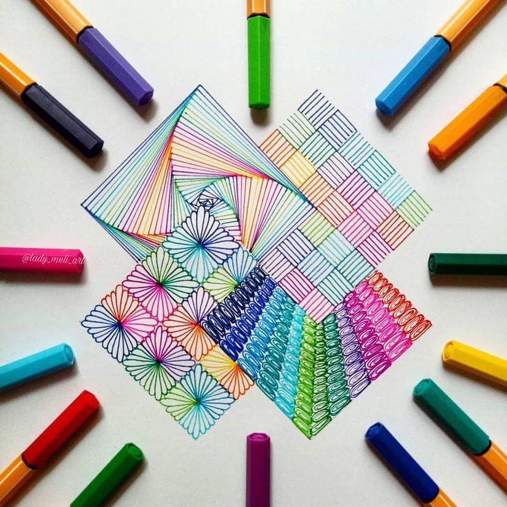 Zentangle 4 connected squares – Basteln