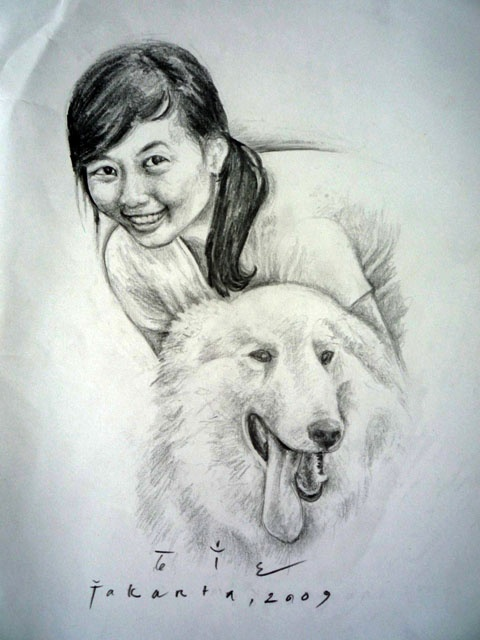 gian with her dog, pencil on paper