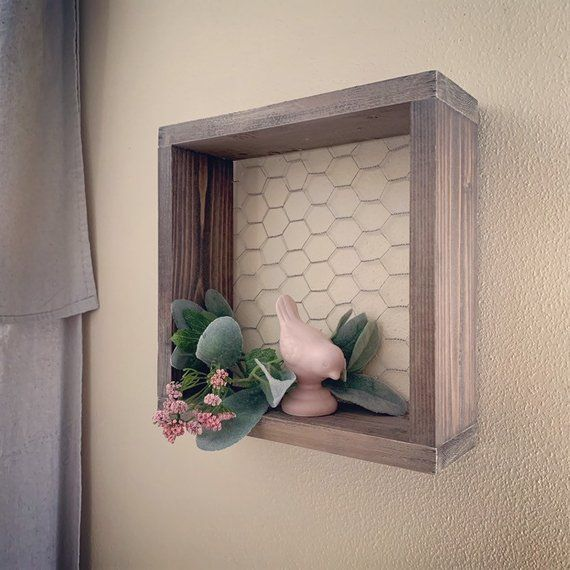 Farmhouse Style Chicken Wire Shelf Gallery Wall Decor Wood Chicken Wire Shelf Seasonal Decor Display Farmhouse Christmas Decor Rustic Wall Decor Modern Farmhouse Decor