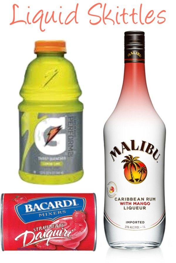 Ingredients: (makes 1 virgin; 2 alcoholic drinks) 6 oz Malibu Mango Rum 12 oz Frozen Strawberry Daiquiri Mix 6 oz Lemon-Lime Gatorade