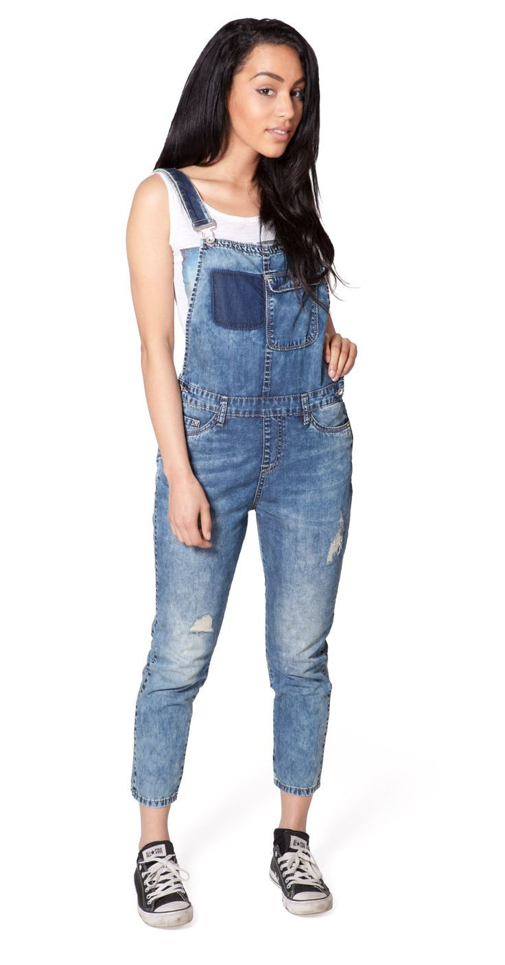 Distressed denim dungarees from Dungarees Online - available UK size 6 - 14. #overalls, #destroyed denim, bib overalls
