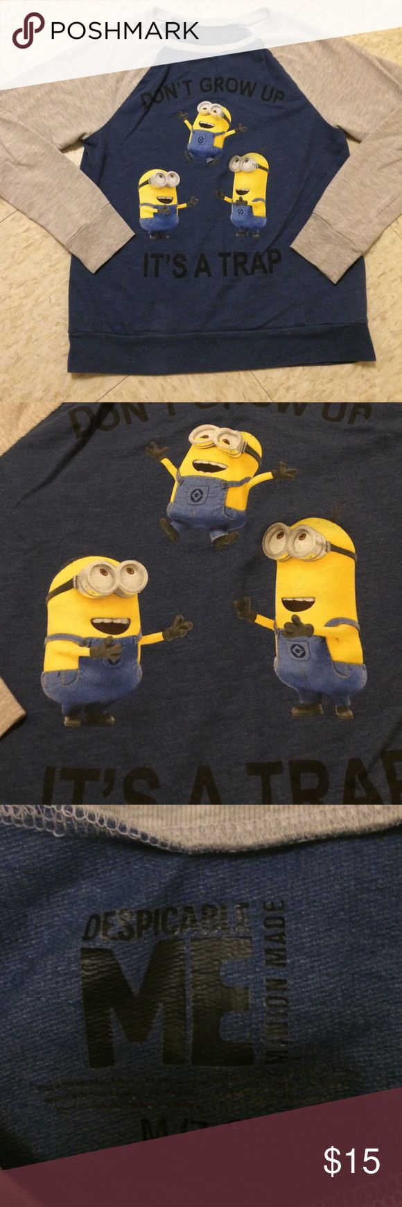 "Minions shirt Long sleeve minion shirt.. they and have been worn only a few time .., great condition.. quotes "" don't grow up, it's a trap ""... Tops Tees - Long Sleeve"