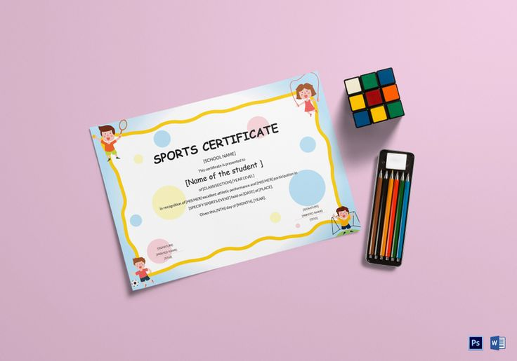 Kids Sports Participation Certificate Template  $9.99  Formats Included : MS Word, Photoshop  File Size : 11.69x8.26 Inchs #Certificates #Certificatedesigns #Kidscertificates