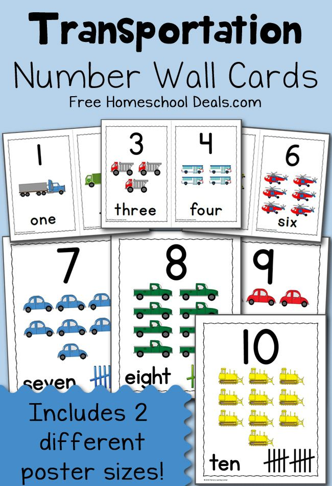 This set of number wall cards has a fun transportation theme. You'll find number cards 1 through 10 in both of the included sets.
