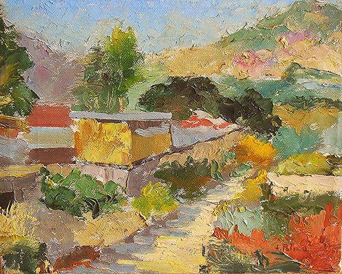 Viale ad Agnano.( Napoli Italia.) Anno 1972. Dipinto dal vero. Olio su tela. Dim. cm 25 x cm 35