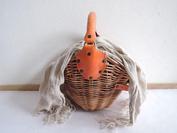ebagos エバゴス YES HOLIDAY 紅籐×レザーかごバッグ