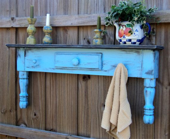 Shelf from old table: Idea, Quirky Decor, Coats Racks, Headboards, Old Tables, Towels Bar, Farmhouse Style, Display Shelves, Window Cornices