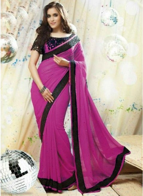 Striking Violet color Printed #Saree With Zari Work #designersarees #clothing #womenswear #womenapparel #ethnicwear