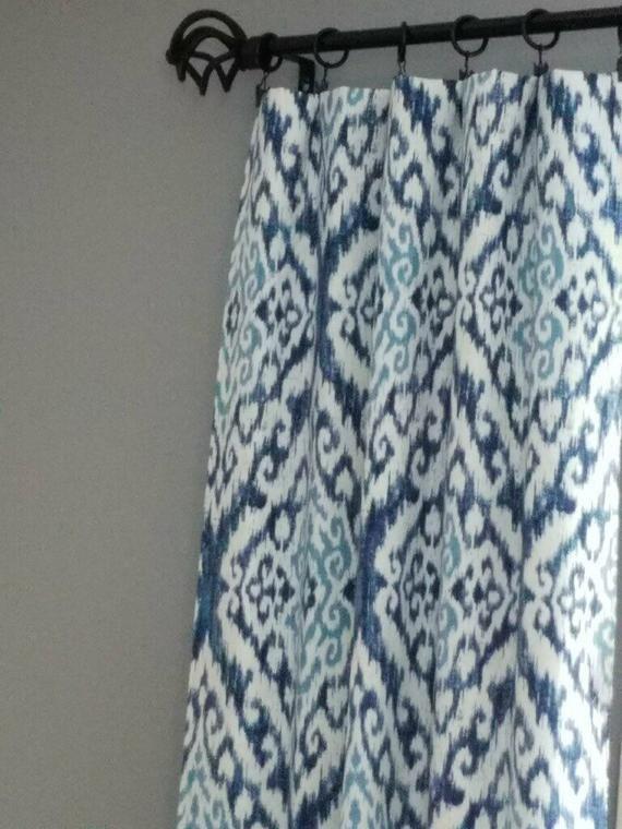 2 Paneles De Cortina Azul Ikat Personalizados Paneles Ikat Cortinas Azuloscuro Azul Claro Cenefas Tamanos Personalizados Forro Y Ojales Bajo Peticion Cortinas Azules Cortinas Cortinas Paneles