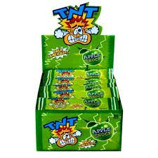 A bulk box of TNT Apple Sour Chew Bar.