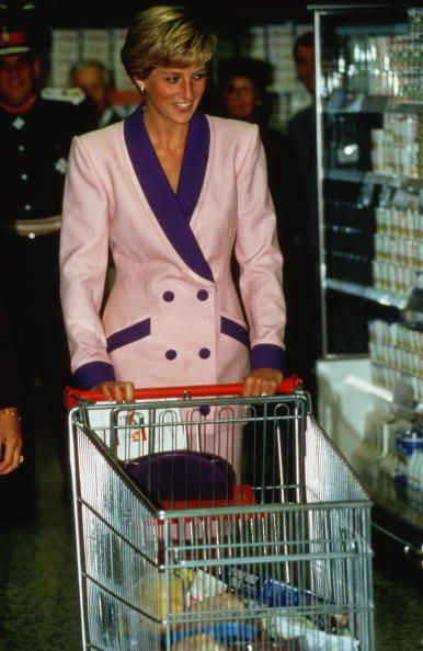 Princess Diana goes shopping in a Tesco supermarket during a visit to Solihull September 1990.