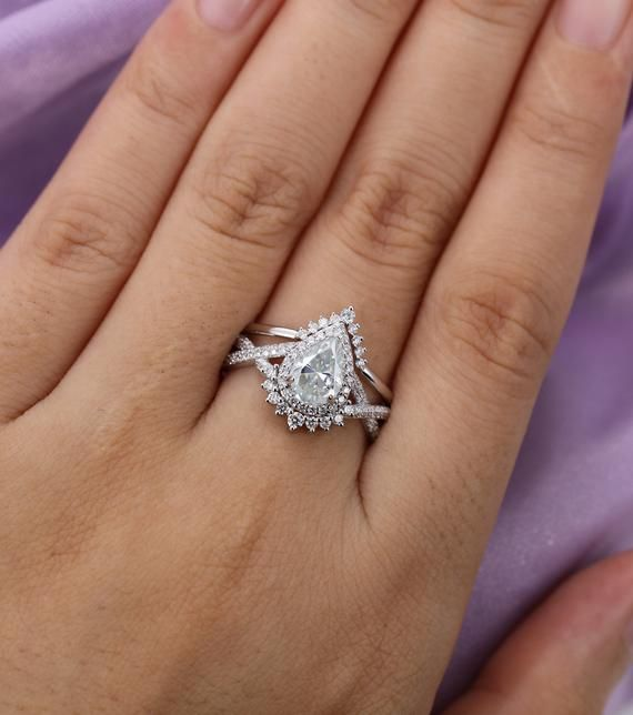 Pear shaped Moissanite engagement ring set, White gold, halo diamond/ moissanite band for Women,Chevron ring, twisted band Vintage Jewelry