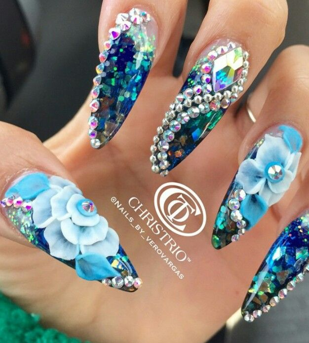 Floral blue mermaid rhinestone nails nailart design