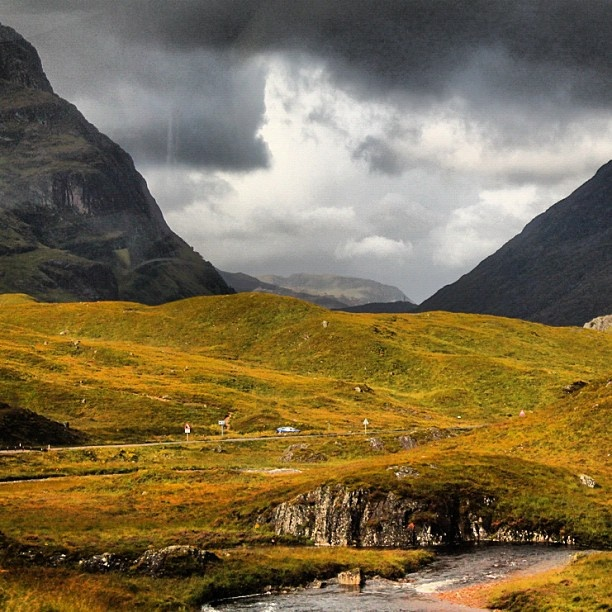 """@magicdustcover's photo: """"#Scotland was like the prettiest place ever. #colour #mountain #grass #clouds #cloud #stream #water #yellow #Europe #trip""""    #glasgow #glasgow2014 #scotland"""